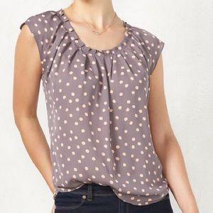 Lauren Conrad~ Blue polka dot blouse